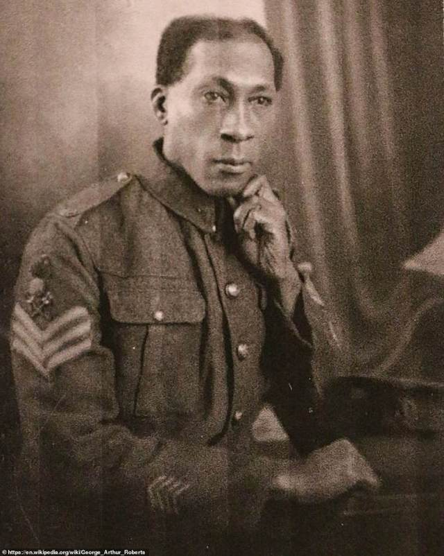 The exploits of a black First World War hero whose courage saw him run towards hand grenades and hurl them back at the enemy - and who later became a firefighter during the Blitz - have emerged in a new book 80 years on. Rifleman George Roberts (above) was born in Trinidad but in 1914 he enlisted for Army service in Britain, which he saw as his 'mother country'