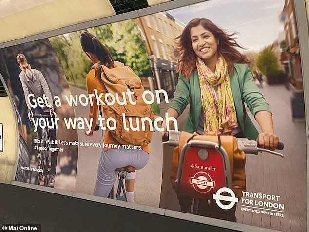 One of the 'Now's The Time' posters on the Transport for London network, pictured at Marylebone station yesterday, urges people to 'get a workout on your way to lunch'