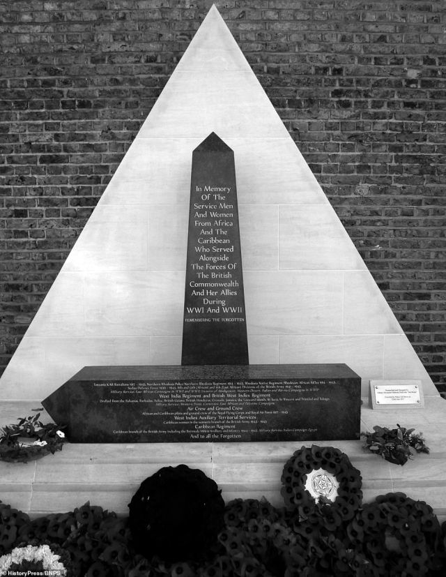 A memorial for the African and Caribbean servicemen who gave their lives in the two World Wars.'The contribution of black people to the World War Two effort was absolutely invaluable. Thousands and thousands of black people from Britain and the old British Empire volunteered through loyalty and also a hope that their countries would be granted independence in return, which eventually happened,' said Mr Bourne