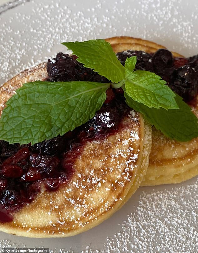 A treat for the morning: two small pancakes with jelly on top and syrup with butter is about 300 calories