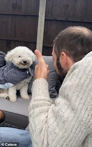 Kelly Ellise Lockett took a video of Buddy as she sat with family in the garden of their home in Liverpool