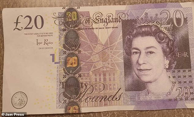 The counterfeit notes can also be identified by a text below the '£20' symbol which reads: 'This is not legal. It is to be used for motion props.'