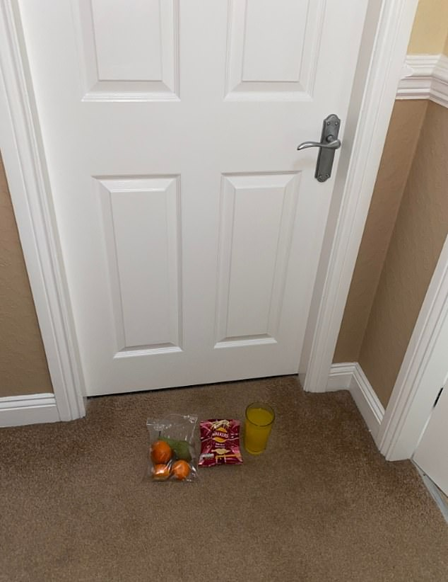 While Jamie undergoes quarantine, his mother Julie leaves food on a tray outside the room (above)