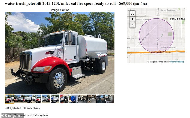This 2013 Peterbilt water truck that 'meets all Cal Fire specs' is on sale for $69,999 in Pacifica, California