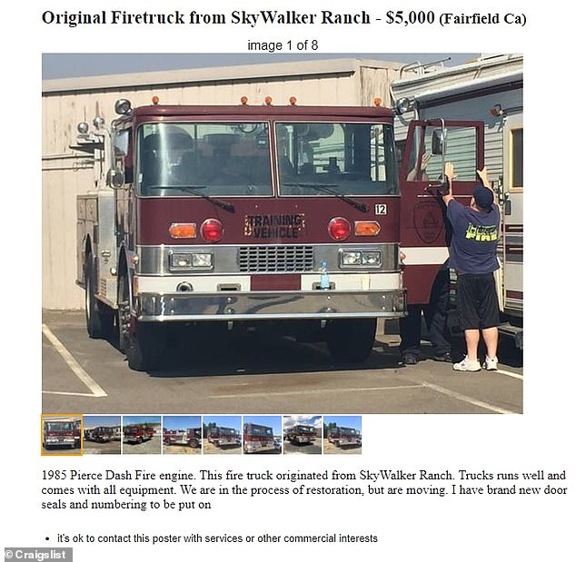 This fire truck with a 1985 Pierce Dash Fire engine from Skywalker Ranch is on the market for $5,000