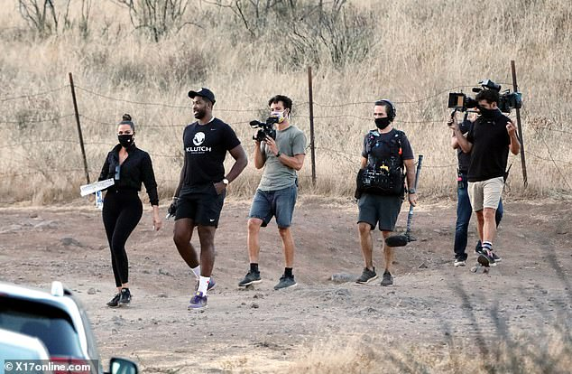 Hike: The duo were joined by the camera crew for her reality show, Keeping Up With The Kardashians