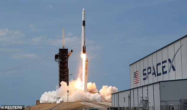 The crew took off in an America rocket from Florida ¿ a feat that has not been done in nearly nine years
