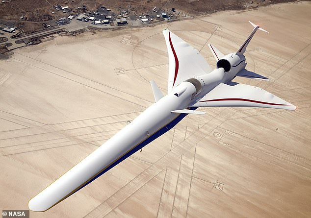 NASA is currently working on a supersonic plane shaped like a pencil which doesn't have a front-facing window for the pilot to look out of (pictured). Known formally as the X-59 Quiet Supersonic Transport (QueSST), it has garnered the nickname 'Son of Concorde'
