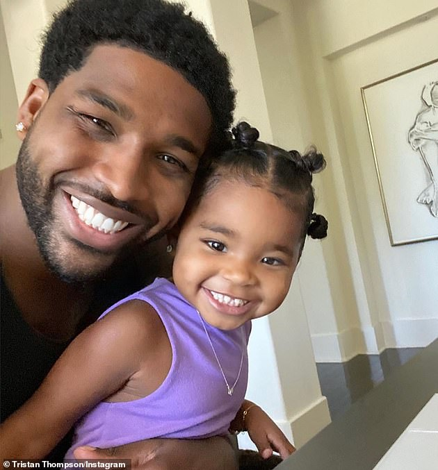 Good dad:However, earlier this month People 's source said, 'She loves having him around. He has the best relationship with True, and he has been amazing to Khloe too. They are very much together and Khloe is beyond happy'