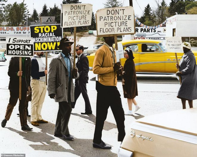 A snapshot, taken by the Seattle Police, shows a Congress of Racial Equality-sponsored demonstration outside a realtor office in May 4, 1964. The protestors were calling for an end to racial discrimination and demanding the need for open housing