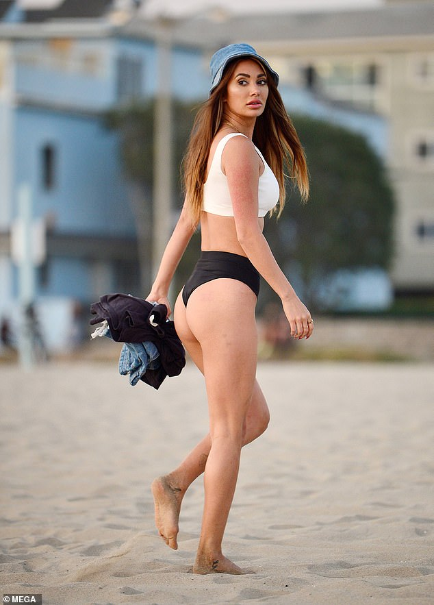 Looking good:Too Hot to Handle winner Francesca 'Frankie' Farago put on a cheeky display in a thong bikini on the beach in California on Wednesday