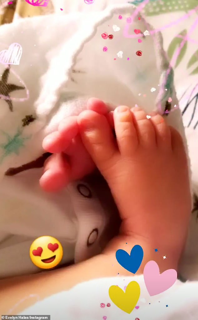 Baby love!Evelyn announced the arrival of their first child together, a baby boy, by sharing a snap of his little feet on Tuesday