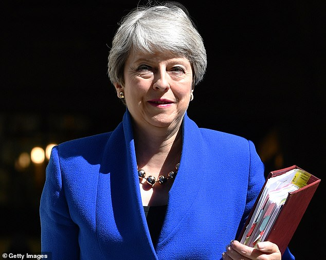 The package addressed to Theresa May (pictured in 2019) was intercepted and the substance was later found to be harmless citric acid