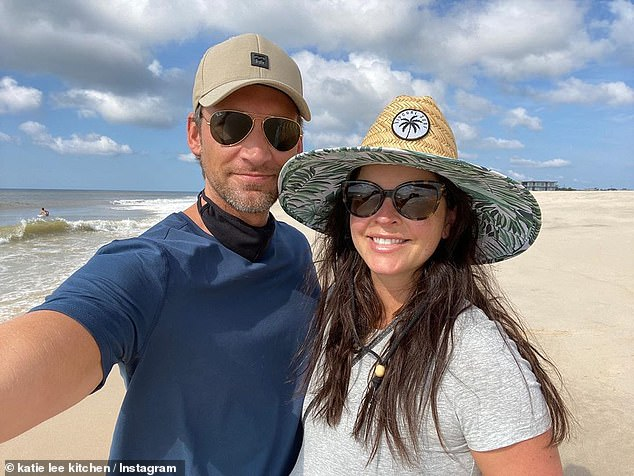 The thrilled parents: Here the chef is seen on the beach with her husband Biegel