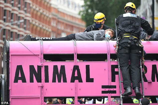 Specialist police remove protesters who had chained themselves to the top of a slaughterhouse truck outside the Department of Health