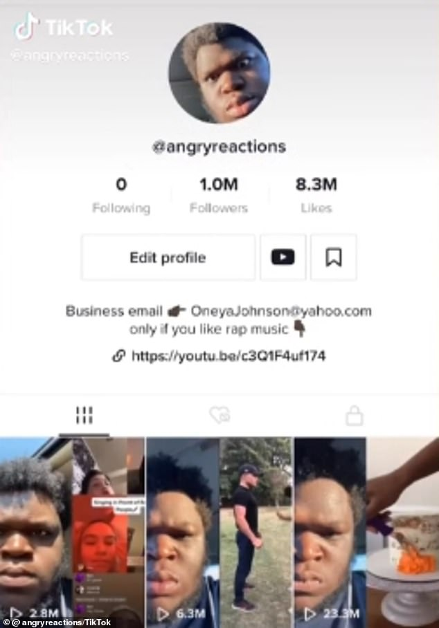 Incredible:After sharing two more reaction videos, he returned to TikTok to angrily celebrate gaining one million followers in just 24 hours