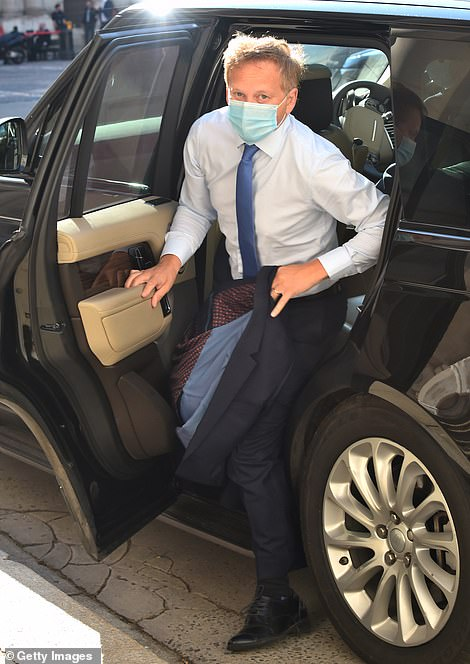 Transport Secretary Grant Shapps, who owns a Tesla but is seen here exiting a Land Rover SUV, is considering shortening the 2035 ban on petrol and diesel car sales