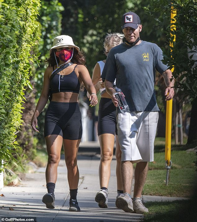 Hiking: As she worked up a sweat during her afternoon excursion, the 31-year-old actress showcased her taut midsection and sensational physique