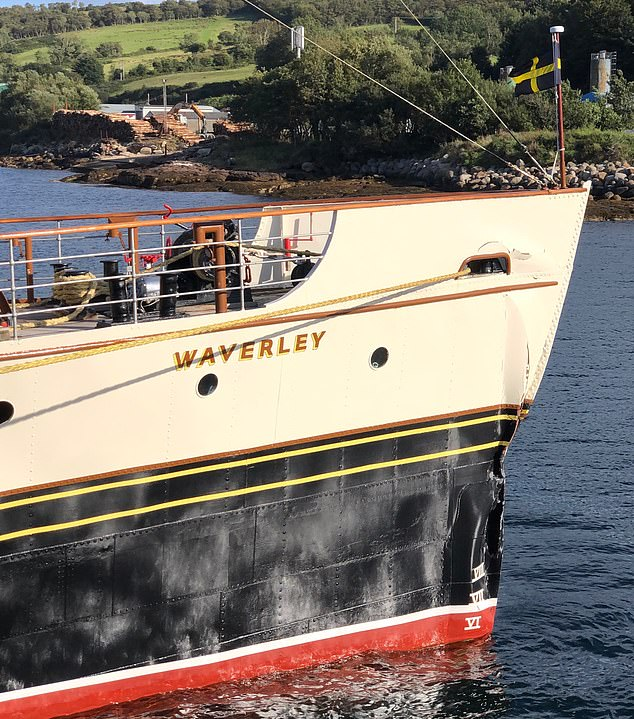 Boat passengers have reportedly suffered injuries on the Waverley paddle steamer (pictured after the crash) after it crashed near the the ferry terminal in Brodick, Isle of Arran, at around 5.15pm