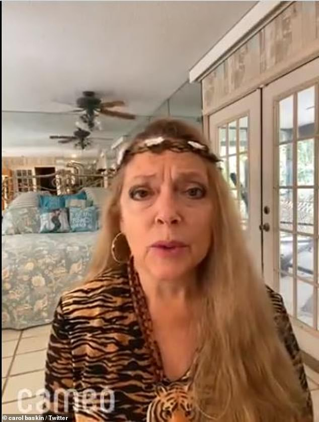 As always: Carole wants to take the focus away from her feud with the Tiger King himself, Joe Exotic, and focus on animal rights and welfare; seen on her Cameo via Twitter