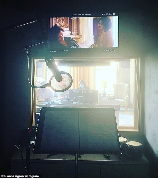 'ADR in the time of Corona': Over the last month, Dianna has been hard at work doing ADR looping sessions for her role as American writer Laura Riding in William Nunez's upcoming movie The Laureate (pictured July 31)