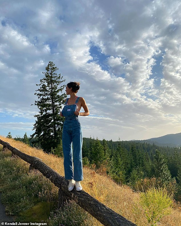 Long legs:This photo was of the 5ft10in in a pair of denim overalls over her bikini as she stood on a wood fence. The jet setter added Converse sneakers