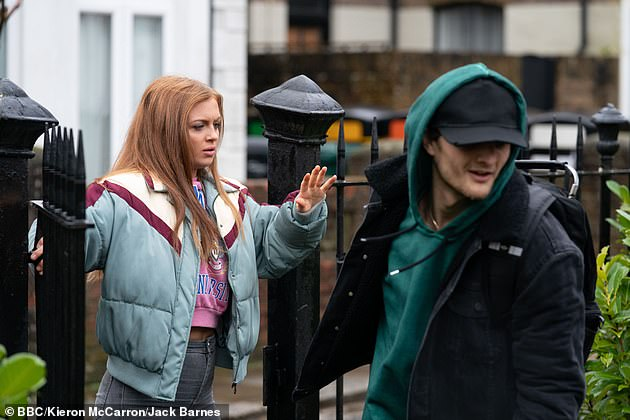 Soap fame:She hit headlines over the summer, when she was spotted smoking a 'strong-smelling' cigarette at the wheel of her car (pictured as her characterTiffany Butcher in soap still)