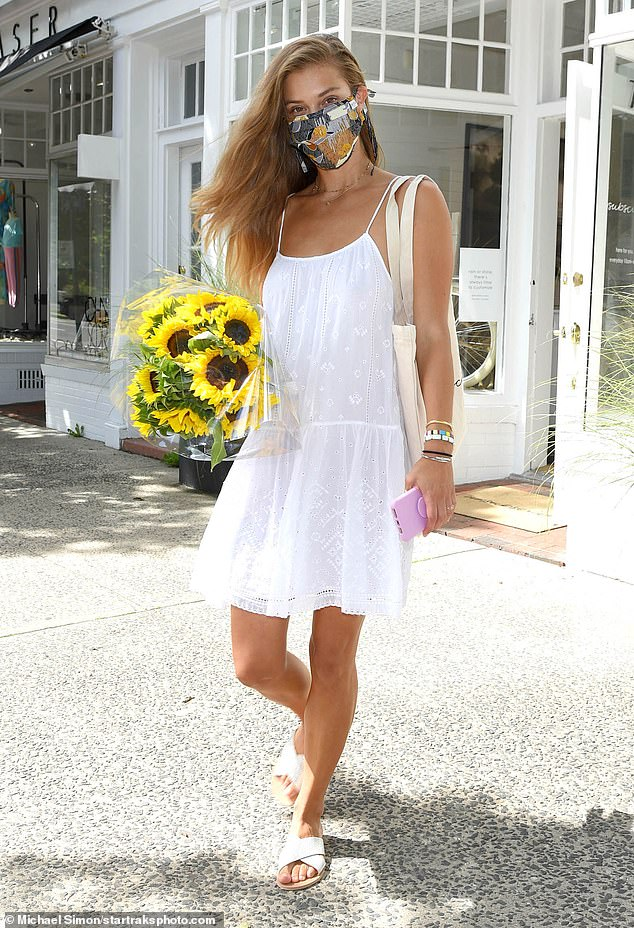 Shopping spree: Nina Agdal went solo on Thursday as she enjoyed a shopping trip to Unsubscribed in East Hampton, New York
