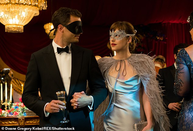 Jamie Dornan is pictured above asChristian Grey in the 2017 film Fifty Shades Darker