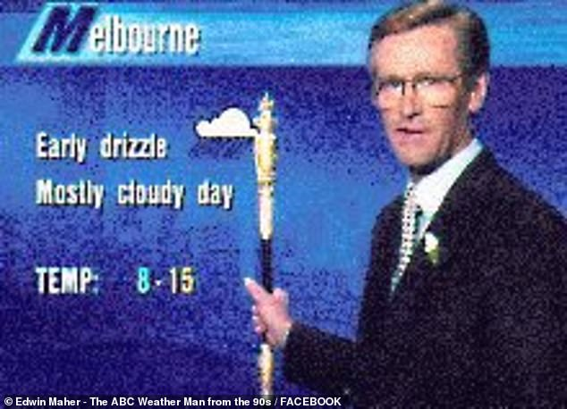 Maher with one of his iconic pointers updating Melbourne on its winter weather in the 1990s