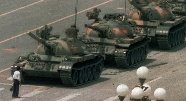 'Some things' - such as the Tiananmen Square massacre - aren't referred to in CCTV reporting. Above, the famous 'Tank Man' photo