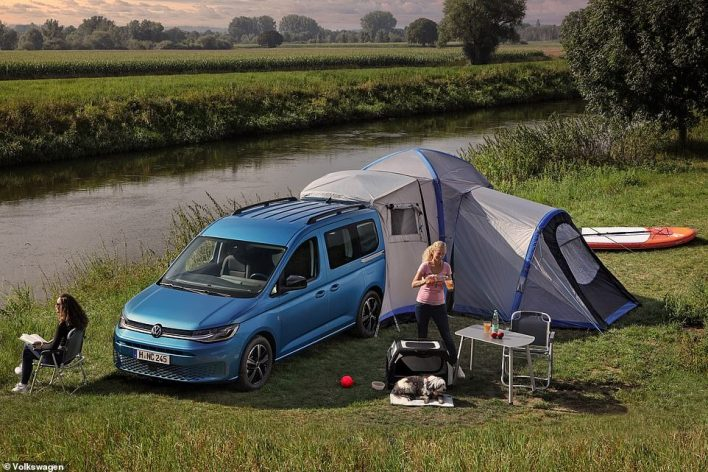 The tent attaches directly to the rear of the Caddy California to provide extended camping quarters for holidaying groups