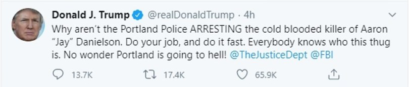 President Donald Trump tweeted about the Aaron Danielson case as the shoot-out unfolded in Washington State last night