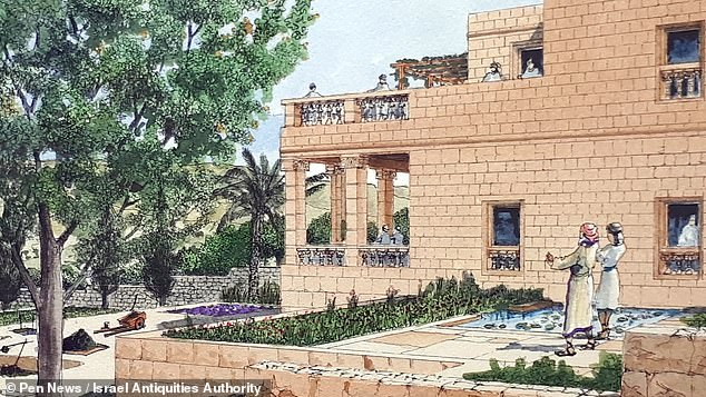 "'This discovery attests to a new revival in the city and somewhat of an ""exit from the walls"" of the First Temple period after the Assyrian siege,' said Professor Billig. 'We have revealed villas, mansions and government buildings in the area outside the walls of the city,' he continued. 'This testifies to the relief felt by the city's residents and the recovery of Jerusalem's development after the Assyrian threat was over.' Pictured, an illustration of the palace"