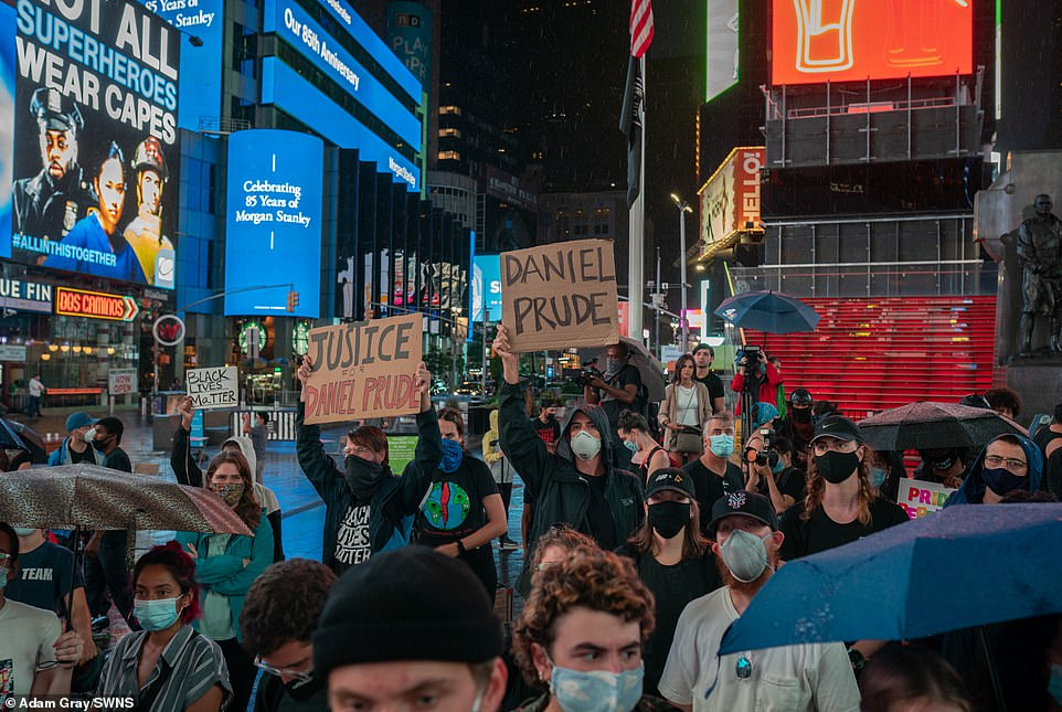 Thursday's protest in New York City was in response to the death of Daniel Prude, a 41-year-old black man who suffocated to death while in police custody