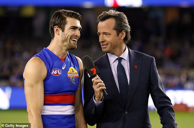 Hamish McLachlan interviews the Bulldogs' Easton Wood. McLachlanwill not be able to attend the event and will be hosting it via virtual crosses from Channel 7's Melbourne studio