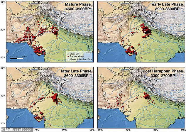This diagram shows the amount of Indus Valley settlements throughout its lifespan. By 3,300 years ago, the civilisation was in sharp decline and went extinct shortly afterwards