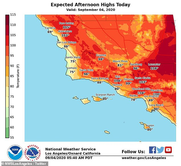California is bracing for what could be one of its hottest days in history, with temperatures in LA soaring as high as 120 degrees Sunday. Pictured Friday's forecast as the heat watch begins