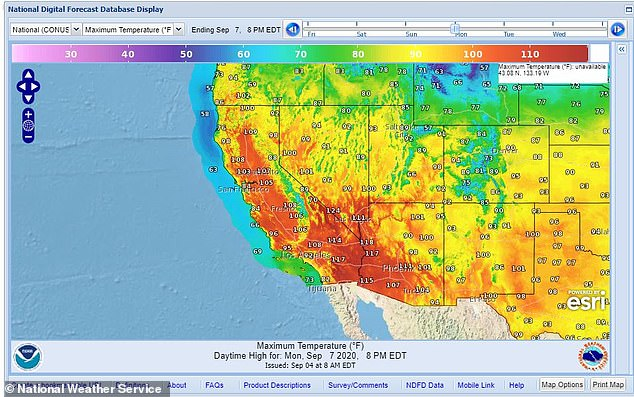 The National Weather Service issued excessive heat warnings for much of the Southwest including Utah, Arizona, Nevada and California. The map shows temperatures past 110 Monday along the West Coast