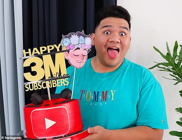 Fans have been left shocked after YouTube star Lloyd Cafe Cadena died at the age of 26. He is pictured above celebrating when he reached three million subscribers on YouTube