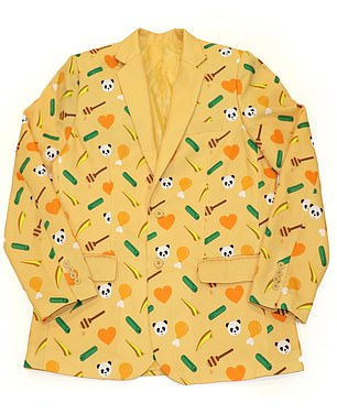 The line also includes a $60 blazer ¿ which has a sunny yellow background and pattern of pandas, chicken drumsticks, string beans, and hearts