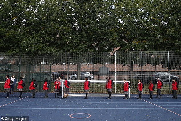 Year 7 students line up in the playground and observe social distancing at City of London Academy Highgate Hill today after schools reopened, as a poll shows there are still pupils not returning because of coronavirus