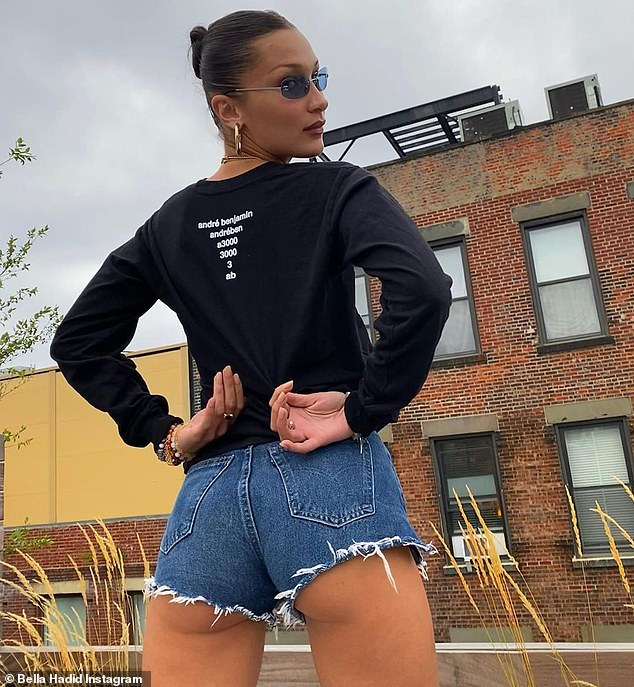Look back: Bella showed off her damn butt on Instagram to her 32.7 million followers as she shyly stared at the camera