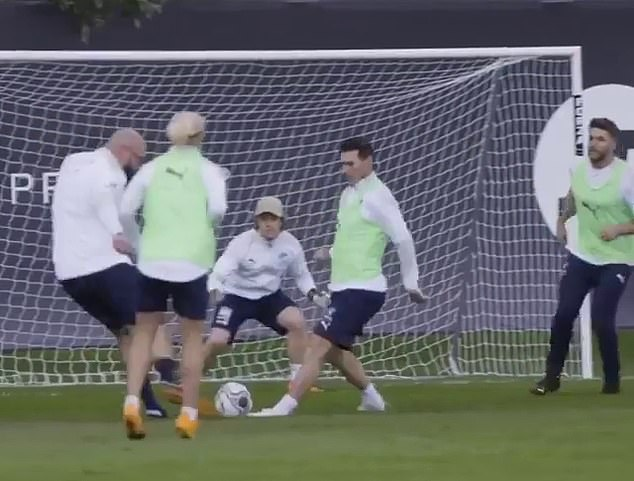 Soccer Aid is played every year and sees an England XI side and World XI team - both made up of ex-players and celebrities - face off and raise money for charity (pictured training)