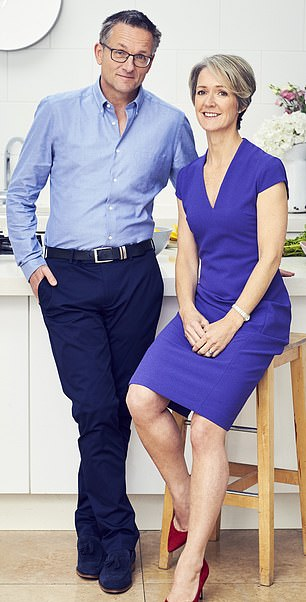 One of Dr Michael Mosley's chief mantras for life is to wear a belt. He is pictured with wife Dr Claire Bailey