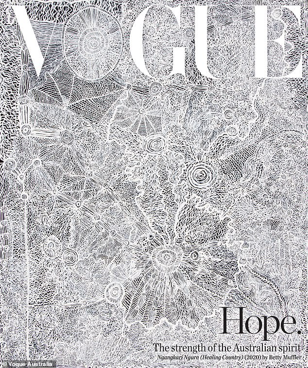 For the first time in its 60-year history Vogue Australia has featured an original artwork on its cover (pictured)