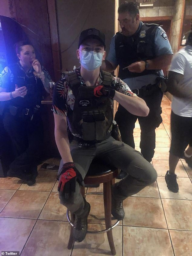 Benjamin Ryan Teeter is seen in a Twitter photo. Prosecutors say he traveled to Minneapolis to support the George Floyd protests, seeking a violent overthrow of the government