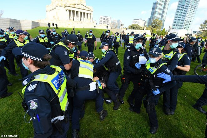 Anti-lockdown protesters were bombarded with police outside the Shrine of Remembrance on Saturday
