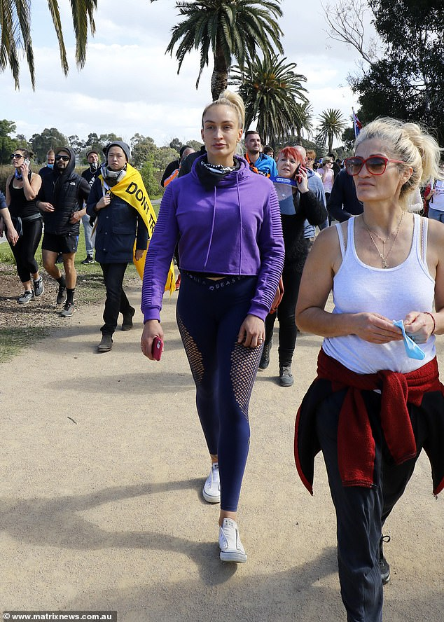 Support: The reality star marched alongside other anti-lockdown protesters