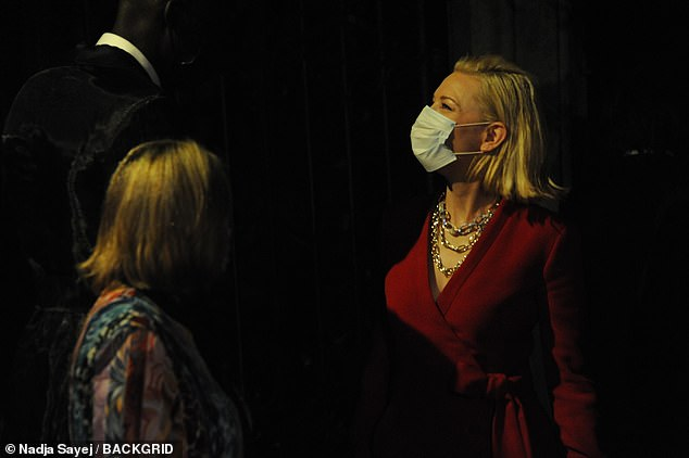 Safety first: Cate arrived at scene with a face mask amid coronavirus crisis
